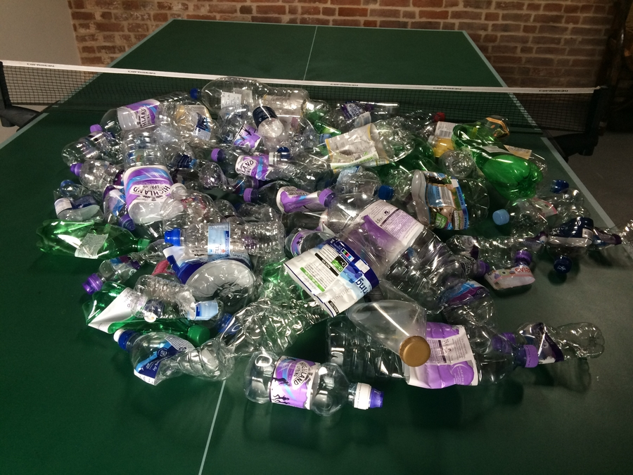 A recycling bin's worth of plastic water bottles!